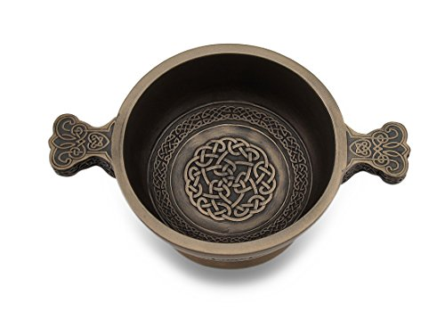 Veronese Design Celtic Knotwork Pattern Bronze Finished Two Handled Quaich Cup