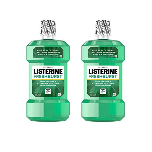 Listerine Freshburst Antiseptic Mouthwash with Germ-Killing Oral Care Formula to Fight Bad Breath, Plaque and Gingivitis, 500 mL (Pack of 2)