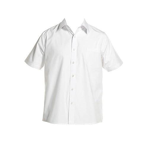 96d4ce4b2f1b Zeco Short Sleeve Boys Shirt 11-17.5in Collar Generous Cut White Blue