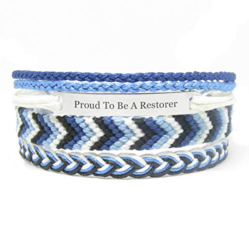 Miiras Job Engraved Handmade Bracelet - Proud to Be A Restorer - Blue 1 - Made of Embroidery Thread and Stainless Steel - Gift for Restorer