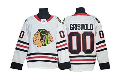 Gmjay Griswold # 00 Hockey Trikot Chicago Blackhawks Hockey Rot Genähte Buchstaben Zahlen Jersey Langarm T-Shirt,White,XXL