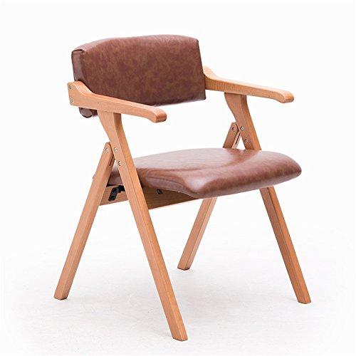Chaise Pliante En Bois Solide Chaise Chaise De Bureau Avec Accoudoirs Et Dossier Confortable Et Pratique Facile À Nettoyer Brun Clair PU 55 * 57 * 78cm (Couleur : Original wood frame)