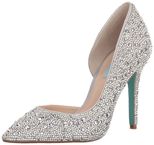 Blue by Betsey Johnson Women's SB-HAZIL Pump, Silver Satin, 11 M US