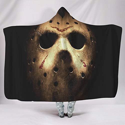 OwlOwlfan Jason Mask - Manta para disfraz de Halloween con capucha de terror, supersuave, cálida, de microfibra, para dormir o para viajes, oficina, para adultos, niños, color blanco 60 x 80 pulgadas