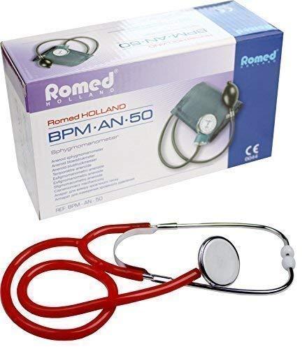 Blutdruckmessgerät Aneroid 2-Schlauch + Stethoskop verschiedene Farben nach Auswahl (Rot)