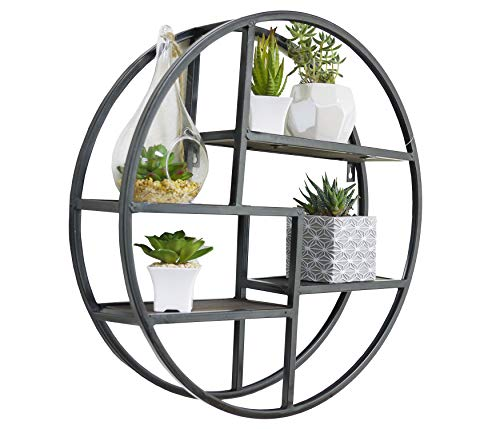 Admired By Nature, Black Round Wall-Mounted Iron Hanging Storage Floating Shelves, ABN5E094S-BLK