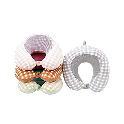 zhoufeng Reise-Accessoires tragbare Memory-Foam Nackenkissen Stillkissen Air Travel Pillow Halsschmerzen während der Reise lindern. (Color : Shallow Pink)