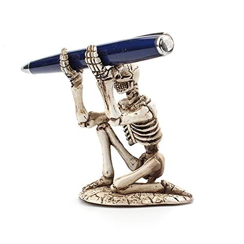 Sostenedor de la pluma del cráneo, estante de exhibición decorativo del tenedor del almacenamiento de la forma del esqueleto de escritorio creativo para el hogar, la oficina
