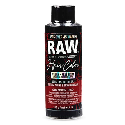 RAW Crimson Red Demi-Permanent Hair Color, Vegan, Free from Ammonia, Paraben & PPD, lasts over 45 washes, 4oz