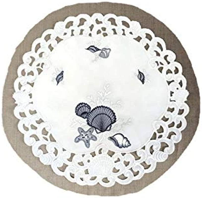 Doily Boutique Place Mat Or Doily With Blue Seashells On White Fabric Size 15 Inches