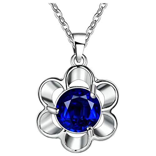 Adokiss Jewellery Silver Plated Necklace for Women, Flower Round Cut Royal Blue Cubic Zirconia Necklace Girls, Pendant Size 1.6x2.6CM with 45CM Chain, Birthday Gift for Your Girfirend