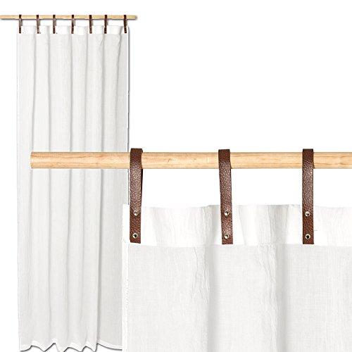 JEMIDI Schlaufenschal mit Kunstlederschlaufen Schlaufengardine Schlaufen Gardine Deko Vorhang Schal Fenster Schlaufen Dekoschal Dekogardine Weiß