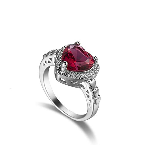 Xunuo Ruby Heart Shaped Cubic Zirconia Promise Ring Women's Commitment Ring Anniversary Exquisite Jewelry (7)