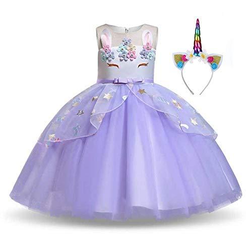 Pretty Princess Ragazza Costume da Unicorno Vestito Floreale Tutu Principessa Abiti per Bambini Belt Viola Chiaro 4-5 Anni