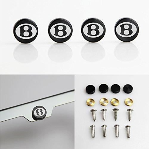 Circle Cool Set of 4 Fit Bentley Logo Laser Engraved Black Aluminum Metal Cap Stainless Steel Screw for Car License Plate Frame