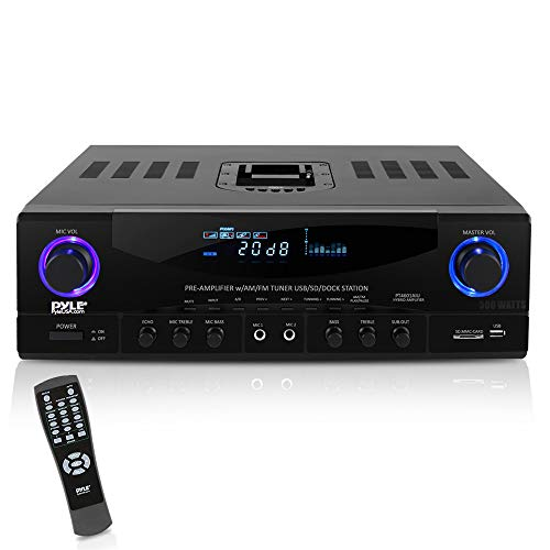 PyleHome PT4601AIU 500W Stereo Receiver AM-FM Tuner/USB/SD/iPod Docking Station and Subwoofer Control