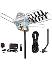 Digital Outdoor Amplified hd tv Antenna 150 Miles Range,Support 4K 1080p and 2 TVs with 33 ft Coax Cable,Adapter,mounting Pole