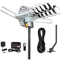 Matis Outdoor Amplified Digital HDTV Antenna with Mounting Pole & 33 ft RG6 Coax Cable