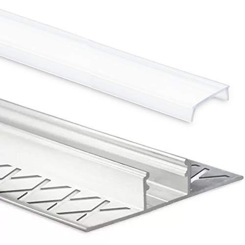 LED Fliesenprofil Alu Profil 2 Meter inkl. Abdeckung - Fliesen - Aluminium für LED Streifen bis 12mm Breite - 2000mm Länge (T Profil Fliesen - satinierte / milchige Abdeckung)