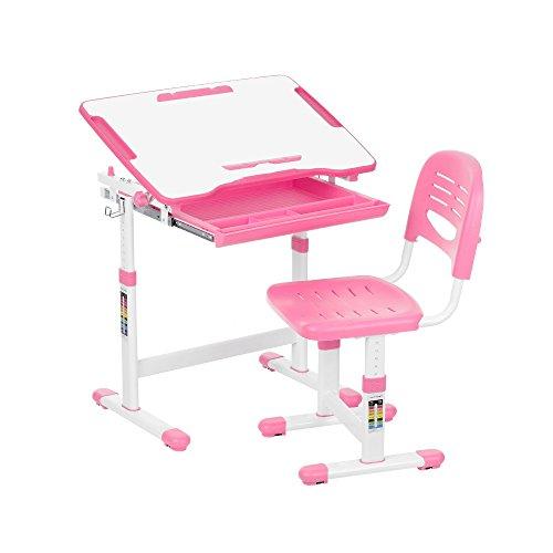 iKayaa Schülerschreibtisch Kinderschreibtisch mit Stuhl Höhen- u. Neigungsverstellbar Schreibtisch Kind
