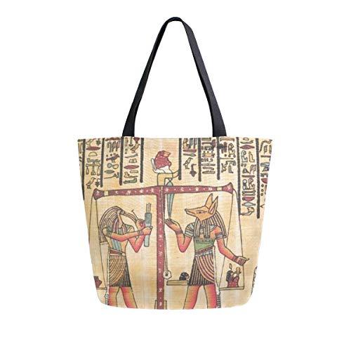 BIGJOKE Canvas Tragetasche Ägyptische Tribal Afrikanische große Frauen Casual Schultertasche Handtasche Wiederverwendbar Shopping Lebensmittel Tragbare Aufbewahrungstasche für Outdoor
