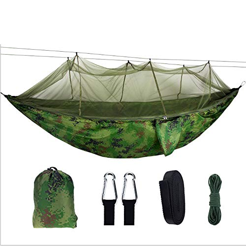 WHCQ Camping Hammock with Net Mosquito, Parachute Fabric Camping Hammock Portable Nylon Hammock for Backpacking Camping Travel, Double Single Hammocks for Camping 102'(L) x 55'(W),1