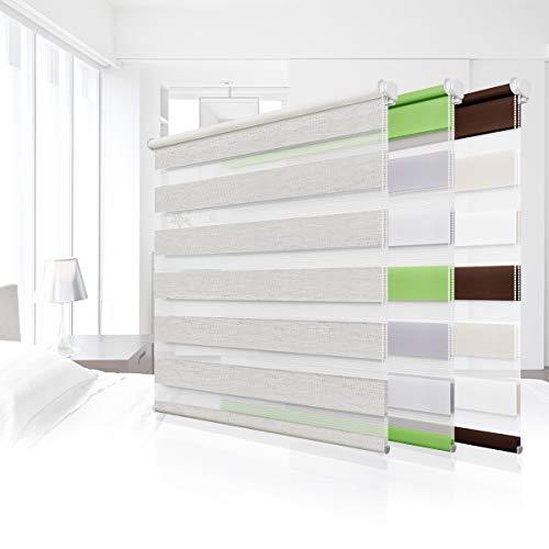 Homland Doppelrollo Klemmfix Duo Rollo ohne Bohren Rollos für Fenster und Tür Faltrollo mit Klemmträger Raffrollo Lichtdurchlässig und Verdunkelnd Leinen 60x120cm(BxH)