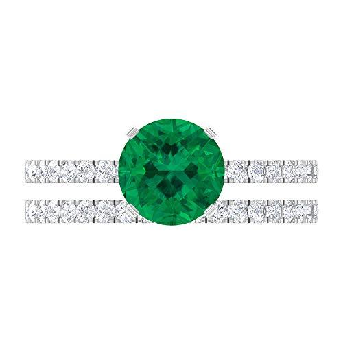 Rosec Jewels 14 quilates oro blanco Round Brilliant Green Moissanite Turmalina Verde