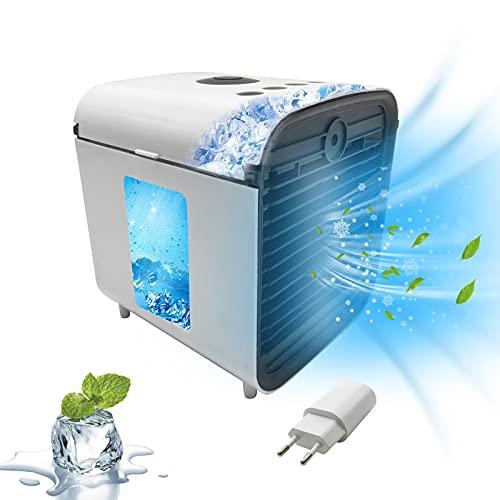 Air Mini Cooler Aire Acondicionado Portátil, Enfriador USB Aire Acondicionado 3 en 1 Ventilador Purificador Humidificador, 7 Colores, 3 Velocidades Ajustable para Hogar Oficina (blanco)
