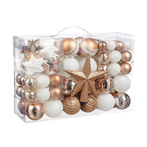 Christmas Ball Ornaments, 100 Pcs Assorted Shatterproof Christmas Ball Set with Gift Package, for Christmas Tree Decor(Rose Pink and White)