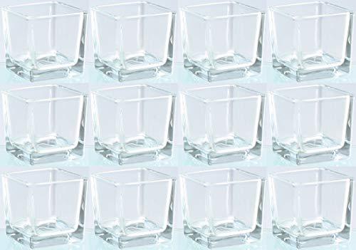 Novaliv Teelichtglas eckig 6cm Glastopf klar Kerzenhalter Tischdekoration