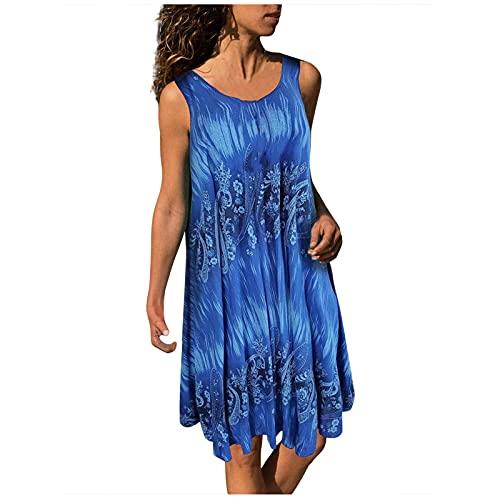 Womens Mini Dresses, Sleeveless Crew Neck Bohemian Floral Printing Loose Ruffled Pullover Midi Dress Tops