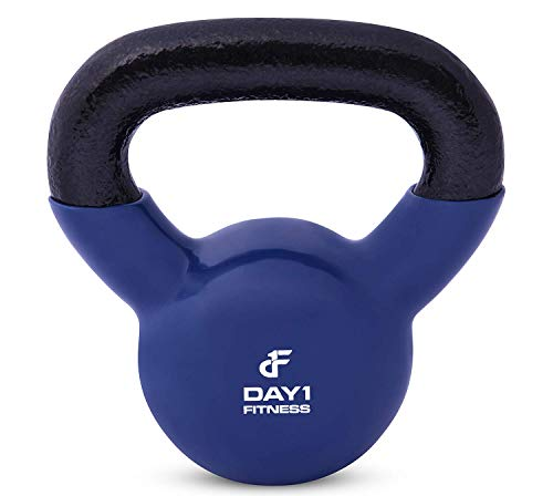 Kettlebell Weights Vinyl Coated Iron by Day 1 Fitness- 40 Pounds - Coated For Floor and Equipment Protection, Noise Reduction - Free Weights For Ballistic, Core, Weight Training