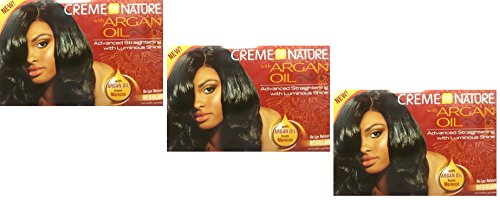 3 x Relaxer/Lissage Crème Crème of Nature with Huile d'Argan Relaxer Regular
