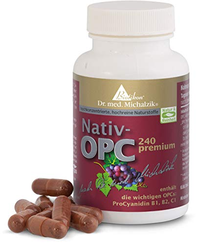 OPC premium - aus französischen Traubenkernen hergestellt - nach Dr. med. Michalzik - 450mg Traubenkernextrakt je Tagesdosis - 240mg reines OPC bei e - 100mg Vitamin C je Tagesdosis - von BIOTIKON®