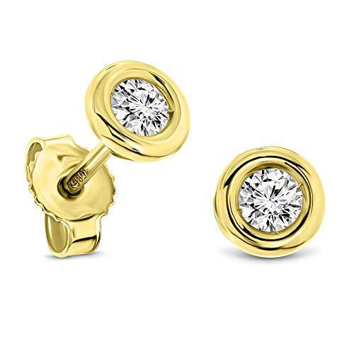 Miore pendientes redondos con presión oro amarillo 14kt 585 con diamantes talla brillante 0,25 ct