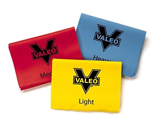 Valeo 4-Foot Long Stretch Exercise Resistance Bands, Pack of 3, Color Coded For Light, Medium, And Heavy-Duty Resistance For Physical Therapy, Pilates, Yoga, Strength Training Workout, VA7657MU, Yellow/red/blue