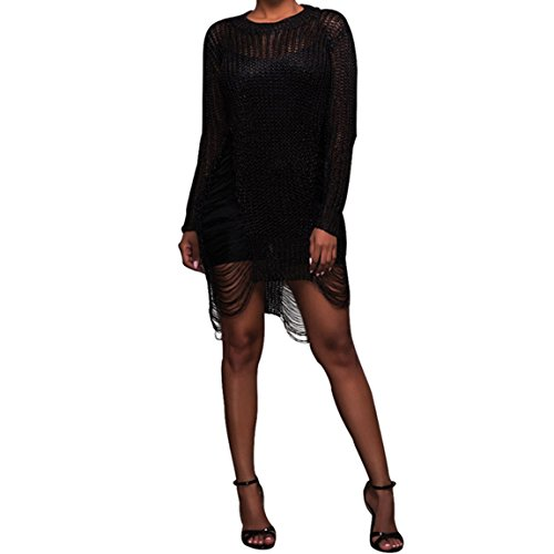 HANMAX Damen Aushöhlen Strickkleid Sommerkleid Bademode Bikini Cover Up Strandponcho Beachwear Partyoutfits