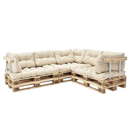 [en.casa] Canapé de Palette Euro- 5-siège avec Coussins- [crème] kit complète INCL. Dossier et appuie-Bras
