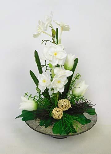 Blumengesteck Gesteck Narzisse Tischgesteck Tischdeko Kunstblume Dekoblume künstlich Kunst Blume unecht 30 cm (weiß) 127