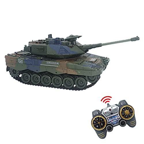 JUGUETECNIC │ Tanque Teledirigido RC Leopard | Efectos Sonido + Humo + Figura Militar | 3 Velocidades de Tanque Radiocontrol │ Escala 1:18