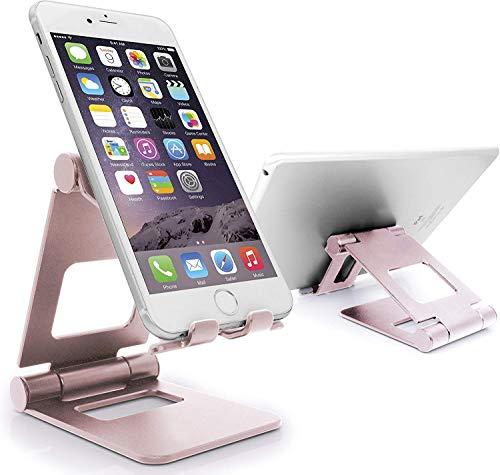 MyGadget Soporte Móvil para Mesa - Phone Holder de Escritorio Plegable para Smartphone Apple/Samsung Galaxy/Xiaomi/Huawei - Oro Rosa