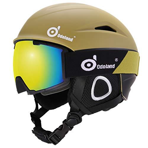 Odoland Skihelm und Skibrille Set Neue Snowboardhelm mit Snowboardbrille für Damen und Herren Jugend Ski Goggles UV 400 Schutz Windwiderstand Snowboard Brille zum Skifahren und Bergsteigen Olivgrün L