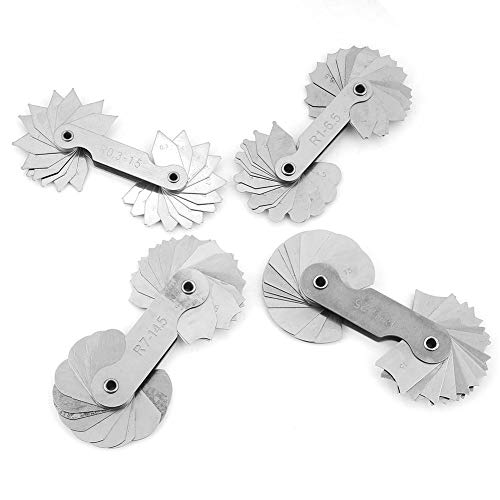 4 Stücke Edelstahl Radius Gauge Filet Gauge Messwerkzeug R0.3-1.5 / R1-6.5 / R7-14.5 / R15-25