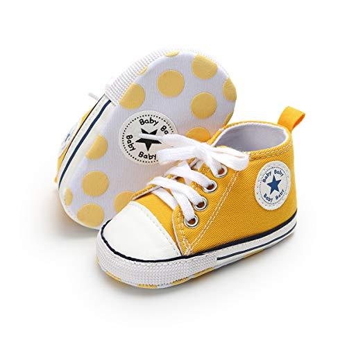 KaKaKiKi Baby Girls Boys Canvas Sneakers Soft Sole High-Top Ankle Anti-Slip Infant First Walkers Crib Shoes