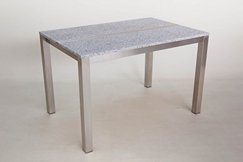 Edelstahl-Granittisch Candle 130x80 cm, Tischplatte HC-White