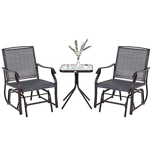 Outsunny Conjunto de Muebles de Jardín Set de 2 Silla Mecedoras 1 Mesa de Acero Textilene para Patio Terraza Exterior 50x50x60 cm Carga 160 kg Gris