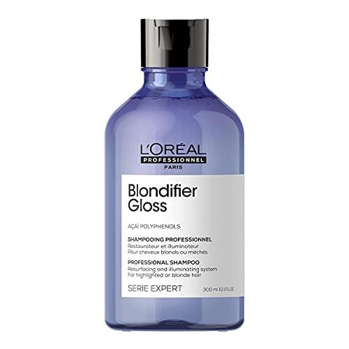 L'Oréal Professionnel | Champú Iluminador y restaurador para cabellos con mechas o rubios, Blondifier Gloss, SERIE EXPERT, 300mL