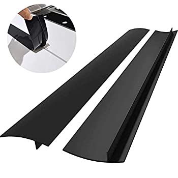 ITEMporia Silicone Stove Gap Covers  2 Pack  Easy Clean Heat Resistant Oven Gap Filler To Seal Between Stovetop and Counter  25 Inches Black