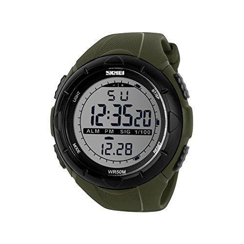 iLove EU Herren Armbanduhr 50m Wasserdicht Digital LED Alarm Datum Uhr Sportuhr Stoppuhr mit Silikon Band Armee Grün Schwarz